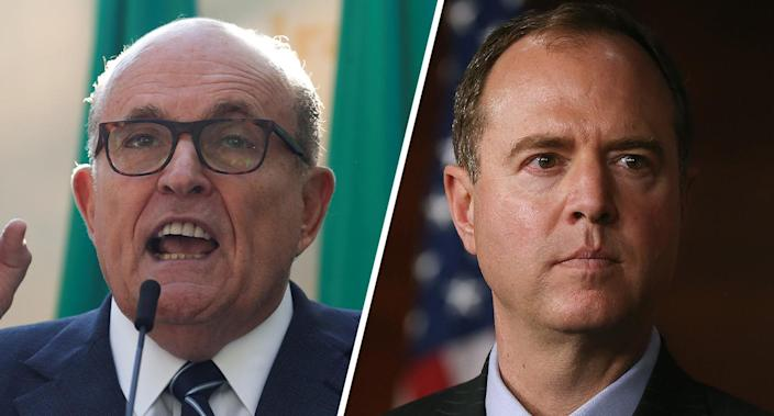 Rudolph Giuliani and Rep. Adam Schiff (Photos: Shannon Stapleton/Reuters, Mark Wilson/Getty Images)