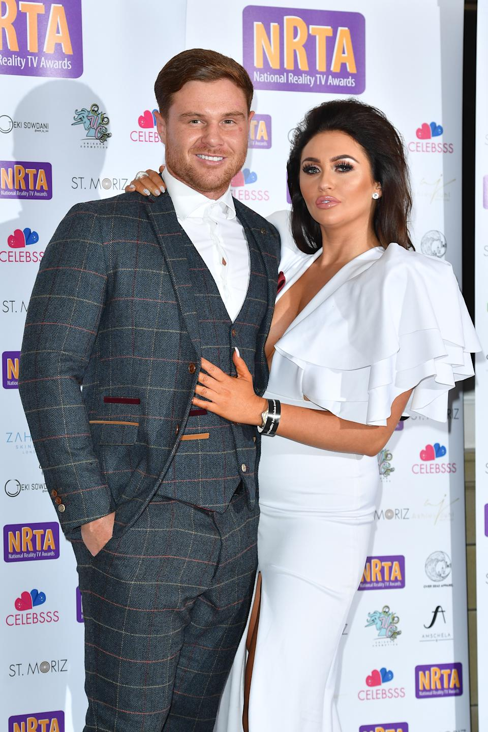 LONDON, ENGLAND - SEPTEMBER 25:  (L-R) Matthew Sarsfield and Charlotte Dawson attend the National Reality TV Awards held at Porchester Hall on September 25, 2018 in London, England.  (Photo by Jeff Spicer/Getty Images)