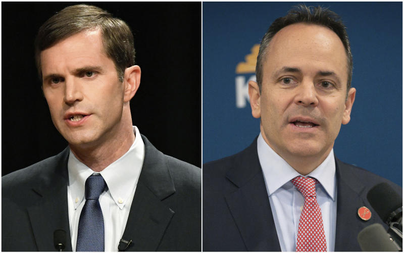 FILE - In this combination of file photos Democratic candidate for Kentucky governor Attorney General Andy Beshear, left, responds during a debate at Transylvania University in Lexington, Ky., on April 24, 2019 and Kentucky Gov. Matt Bevin speaks in the Capitol building in Frankfort, Ky., on Feb. 28, 2019. In Kentucky political circles, Beshear vs. Bevin has become shorthand for the bitter feud between the state's governor and attorney general over legal issues with sweeping implications for the future. The two won their parties' nominations in the primary election for governor on Tuesday, May 21. Now they will square off in November in a grudge match that will have national political experts watching for signs that a Republican incumbent closely aligned with the president might be more vulnerable than expected. (AP Photo/File)