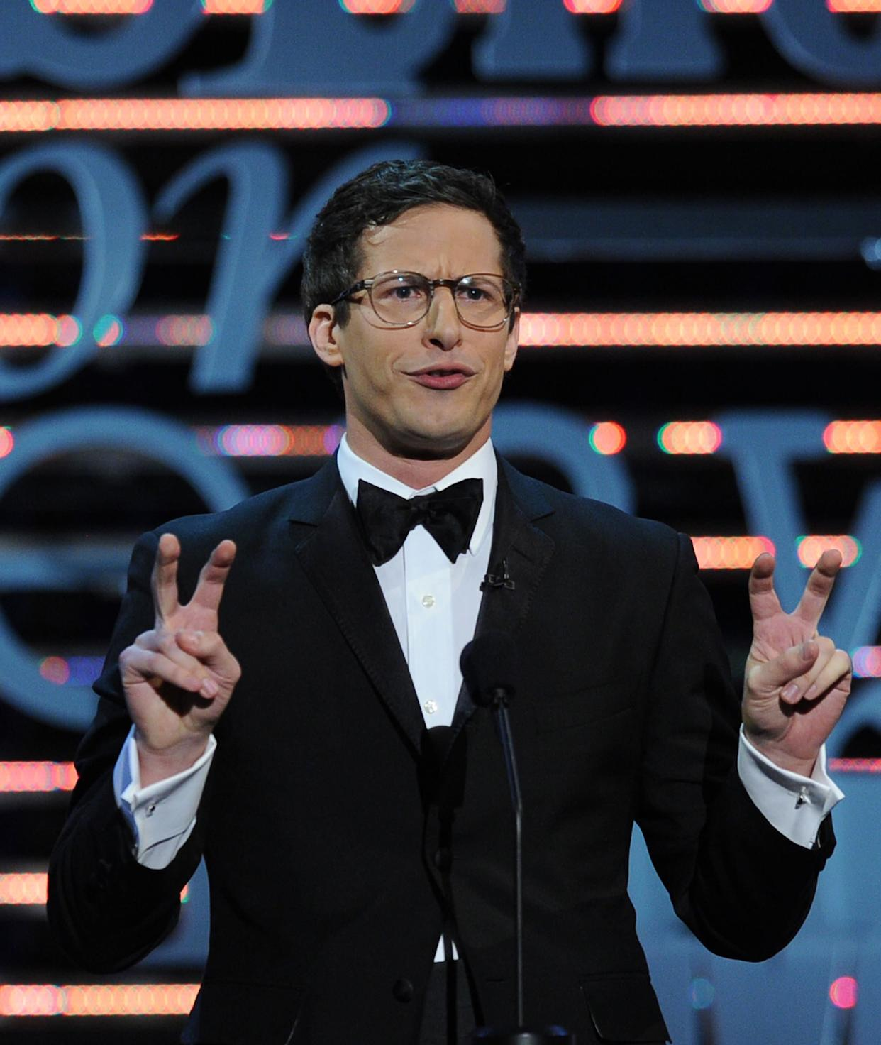 CULVER CITY, CA - AUGUST 25: Actor Andy Samberg speaks onstage during The Comedy Central Roast of James Franco at Culver Studios on August 25, 2013 in Culver City, California. The Comedy Central Roast Of James Franco will air on September 2 at 10:00 p.m. ET/PT. (Photo by Kevin Winter/Getty Images for Comedy Central)