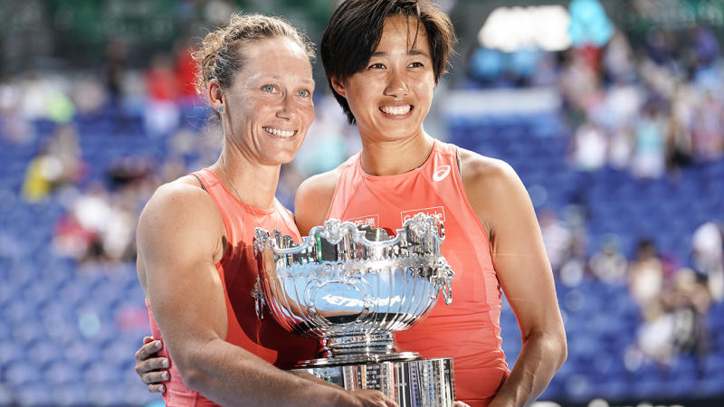 Sam Stosur, pictured here after winning the Australian Open doubles title in 2019.