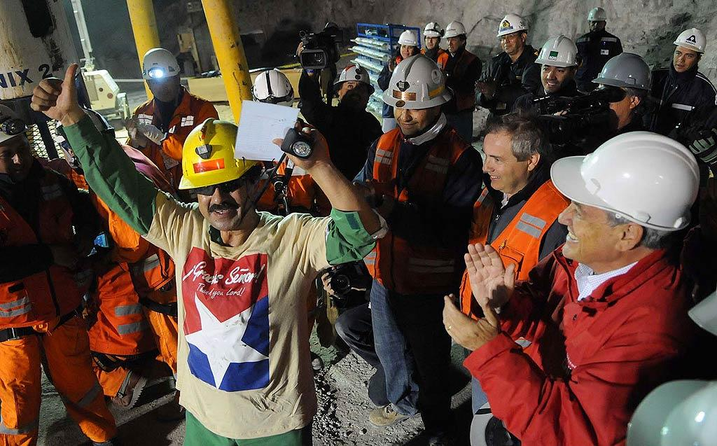 """The biggest celebrities of the week weren't your regular Hollywood stars. They were the incredible Chilean miners who were trapped half a mile underground for 69 days before being rescued via a red, white, and blue rescue capsule over 22 hours, with the last of the 33 miners emerging late Wednesday. <a href=""""http://www.infdaily.com"""" target=""""new"""">INFDaily.com</a> - October 12, 2010"""