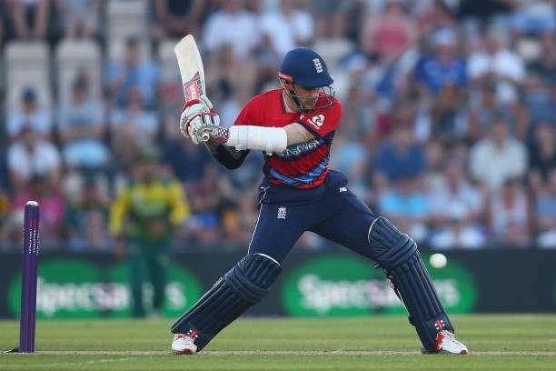 SOUTHAMPTON, ENGLAND - JUNE 21: Alex Hales of England plays a shot during the 1st NatWest T20 International match between England and South Africa at Ageas Bowl on June 21, 2017 in Southampton, England. (Photo by Steve Bardens/Getty Images)