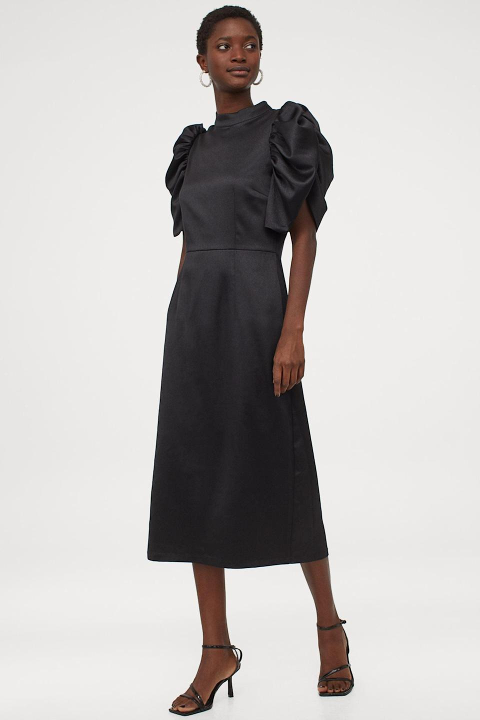 <p>This polished <span>Puff-sleeved Satin Dress</span> ($19, originally $40) is a failsafe choice for any outing. We are in love!</p>