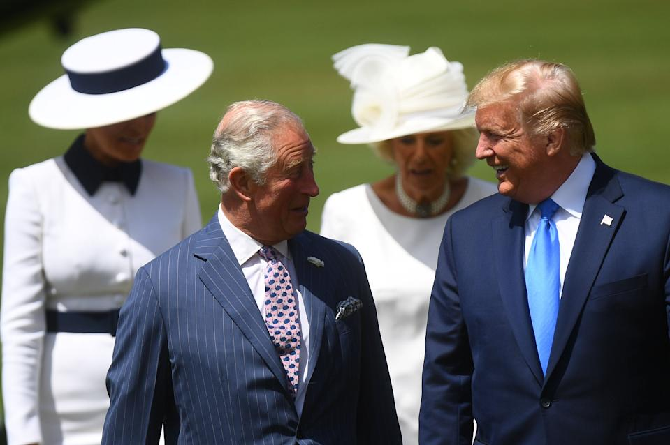 (L-R) U.S. President Donald Trump and the Prince Charles, Prince of Wales during the Ceremonial Welcome at Buckingham Palace on the first day of the U.S. president and First Lady's three-day State visit on June 3, 2019 in London, England. (Photo: Victoria Jones - WPA Pool/Getty Images)