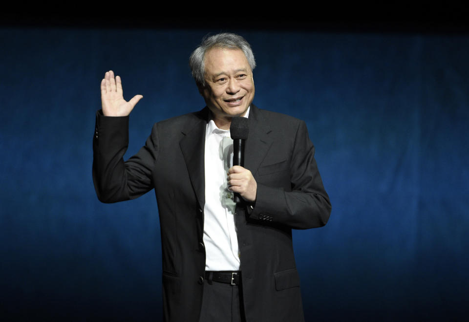 """Ang Lee, director of the upcoming film """"Gemini Man,"""" addresses the audience during the Paramount Pictures presentation at CinemaCon 2019, the official convention of the National Association of Theatre Owners (NATO) at Caesars Palace, Thursday, April 4, 2019, in Las Vegas. (Photo by Chris Pizzello/Invision/AP)"""