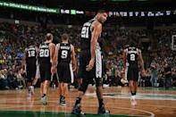 <p>2015: Tim Duncan #21, Manu Ginobili #20 and Tony Parker #9 of the San Antonio Spurs are seen during the game on November 1, 2015 at the TD Garden in Boston, Massachusetts.</p>