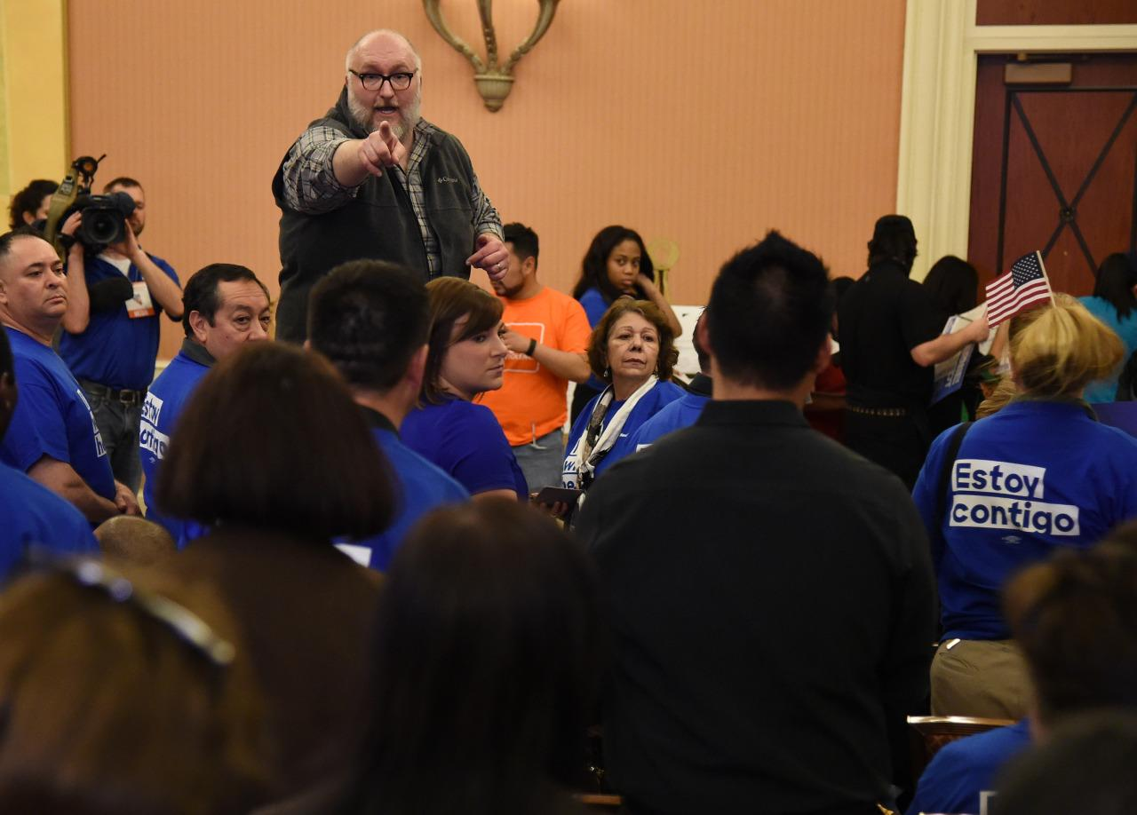 <p>Nevada State Democratic Party volunteer Robert Disney counts people at a Democratic caucus at Caesars Palace on February 20, 2016 in Las Vegas, Nevada.<i> (Photo: Ethan Miller/Getty Images)</i></p>