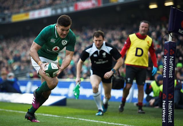Rugby Union - Six Nations Championship - Ireland vs Wales - Aviva Stadium, Dublin, Republic of Ireland - February 24, 2018 IrelandÕs Jacob Stockdale scores a try REUTERS/Clodagh Kilcoyne
