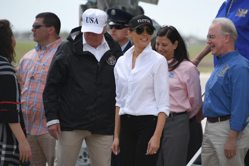 "Trump's ""USA"" hat is <a href=""https://shop.donaldjtrump.com/products/official-usa-45th-presidential-hat-white"" target=""_blank"">currently for sale</a> on his website for $40."