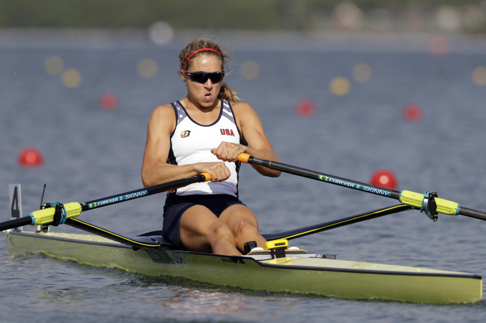 Genevra Stone, of United States, competes in the women's rowing single sculls quarterfinal heats during the 2016 Summer Olympics in Rio de Janeiro, Brazil, Tuesday, Aug. 9, 2016. (AP Photo/Luca Bruno)