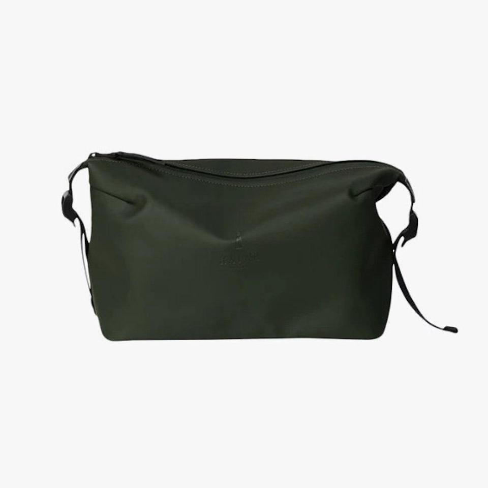 """$50, RAINS. <a href=""""https://www.us.rains.com/collections/waterproof-accessories/products/weekend-wash-bag?variant=32990992334871"""" rel=""""nofollow noopener"""" target=""""_blank"""" data-ylk=""""slk:Buy Now"""" class=""""link rapid-noclick-resp"""">Buy Now</a><br>"""