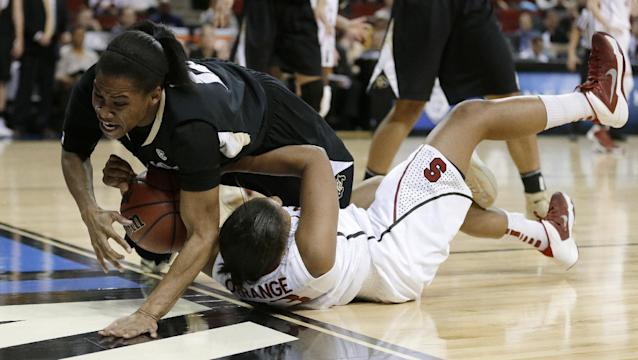 Colorado's Ashley Wilson, left, tangles with Stanford's Amber Orrange as they try to control the ball during the first half of an NCAA college basketball game in the second round of the Pac-12 women's tournament, Friday, March 7, 2014, in Seattle. Stanford won 69-54. (AP Photo/Ted S. Warren)