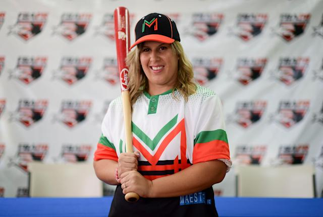 Diamilette Quiles is set to make history as the first woman to play in Puerto Rico's all-male Superior Double A League. (AP)