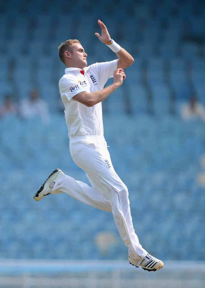 MUMBAI, INDIA - NOVEMBER 04:  Stuart Broad of England bowls during day two of the tour match between Mumbai A and England at The Dr D.Y. Palit Sports Stadium on November 4, 2012 in Mumbai, India.  (Photo by Gareth Copley/Getty Images)