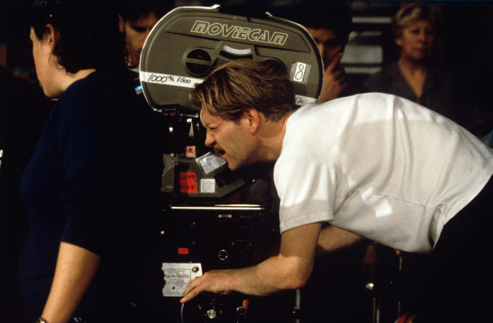The British actor and director Kenneth Branagh shooting with the camera on the set of the film Love's Labour's Lost. 2000 (Photo by Mondadori via Getty Images)