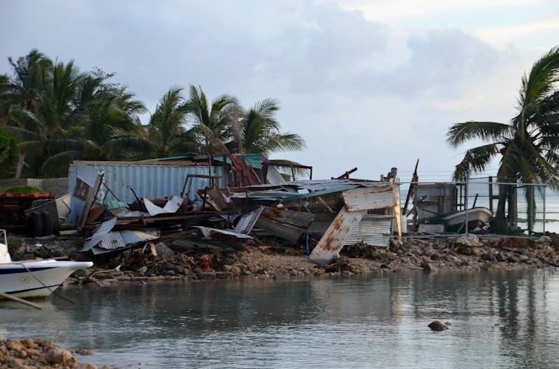 Super Typhoon Maysak destroyed buildings and temporary shelters as it smashed through the Micronesian state of Chuuk, on March 29, 2015 (AFP Photo/Hiroyuki Mori)