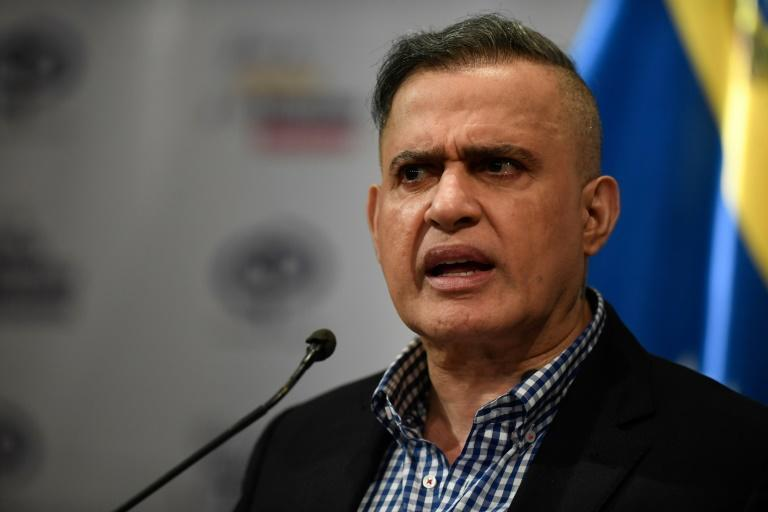 """Venezuela's Attorney General Tarek William Saab, seen here in Caracas on January 24, 2020, announced via Twitter that two Americans have been jailed for 20 years over a failed """"invasion"""""""