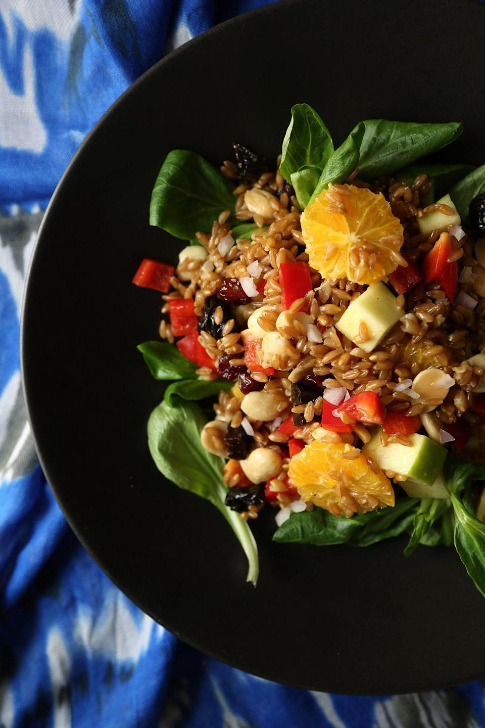 """<p>Looking for a salad that won't bore your taste buds? This vegan farro salad is just what you need. The citrus vinaigrette will take your taste buds to places they've never been before. This recipe was made to serve eight, so chop the ingredients in half, and you'll have enough for leftovers.</p> <p><strong>Get the recipe:</strong> <a href=""""https://www.popsugar.com/food/Vegan-Farro-Salad-Recipe-34732086"""" class=""""link rapid-noclick-resp"""" rel=""""nofollow noopener"""" target=""""_blank"""" data-ylk=""""slk:vegan farro salad with citrus vinaigrette"""">vegan farro salad with citrus vinaigrette</a> </p>"""