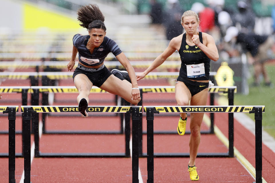 American hurdler Sydney McLaughlin (left) could be a breakout star in Tokyo. First, she'll try to qualify at Hayward Field in Oregon. (Photo by Steph Chambers/Getty Images)