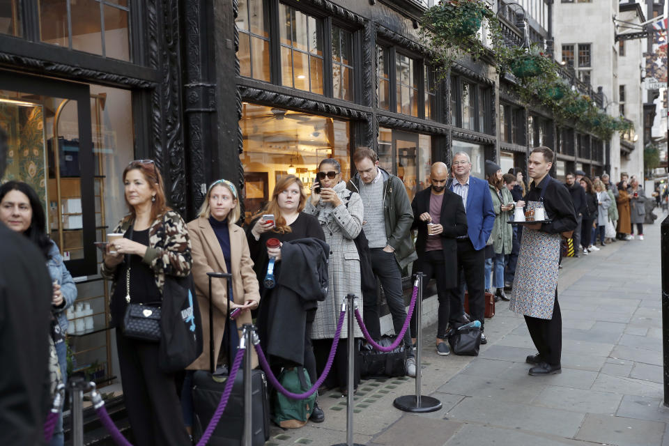 People queuing outside Liberty London in October 2018 for the beauty advent calendar launch [Photo: Getty]