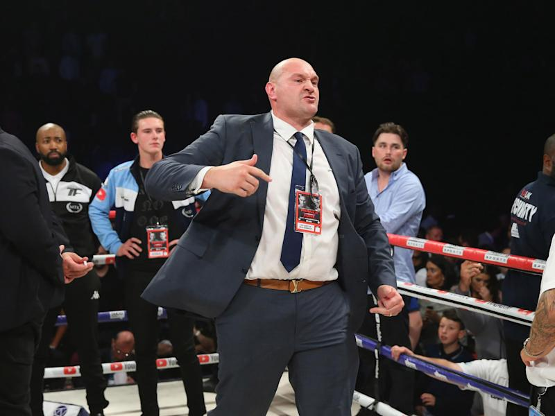 Fury was at ringside for his cousin Hughie's title fight: Getty