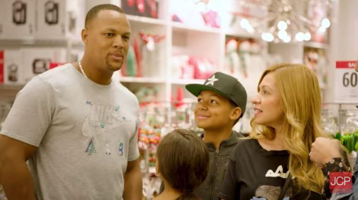 Adrian Beltre and his family showed up in a holiday ad, unbeknownst to those filming. (Screen shot/YouTube)
