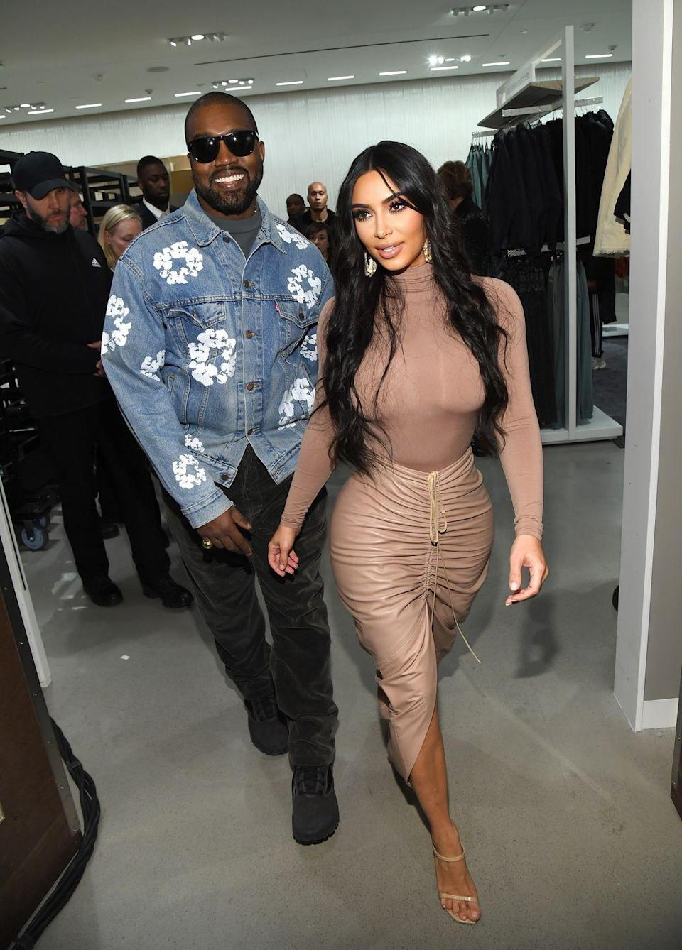 <p>West looked thrilled to be supporting his wife at an event for her latest business venture.</p>