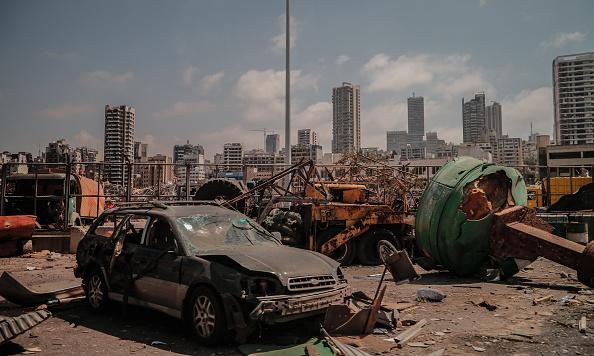 A view of damaged site is seen as search and rescue with rubble removal operations continue after a fire at a warehouse with explosives at the Port of Beirut led to massive blasts in Beirut, Lebanon.