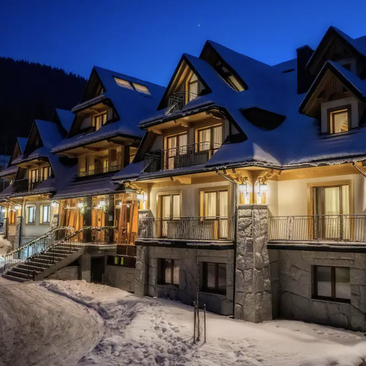 Late evening at cozy ski hotel