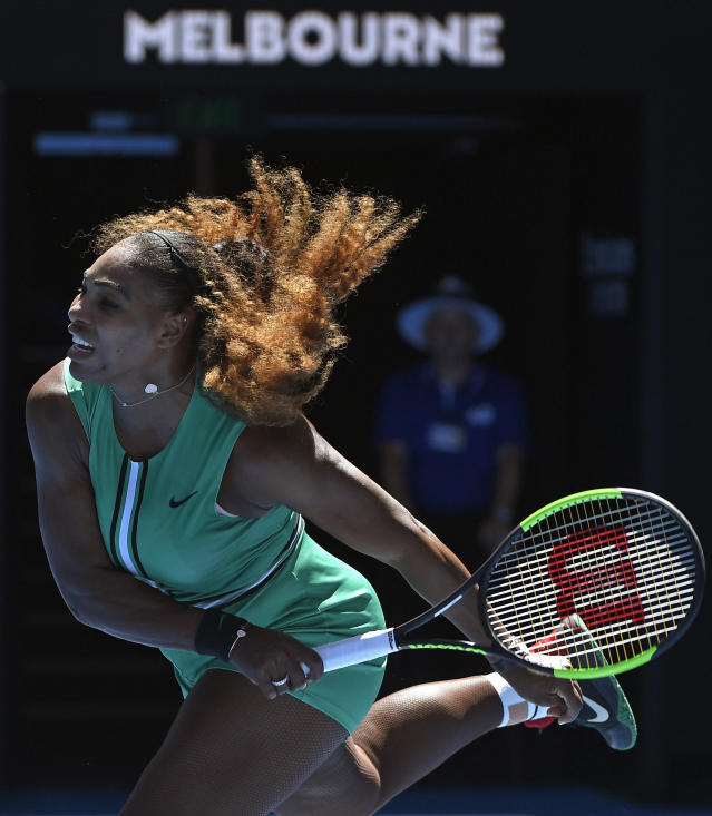 United States' Serena Williams serves to Ukraine's Dayana Yastremska during their third round match at the Australian Open tennis championships in Melbourne, Australia, Saturday, Jan. 19, 2019. (AP Photo/Andy Brownbill)