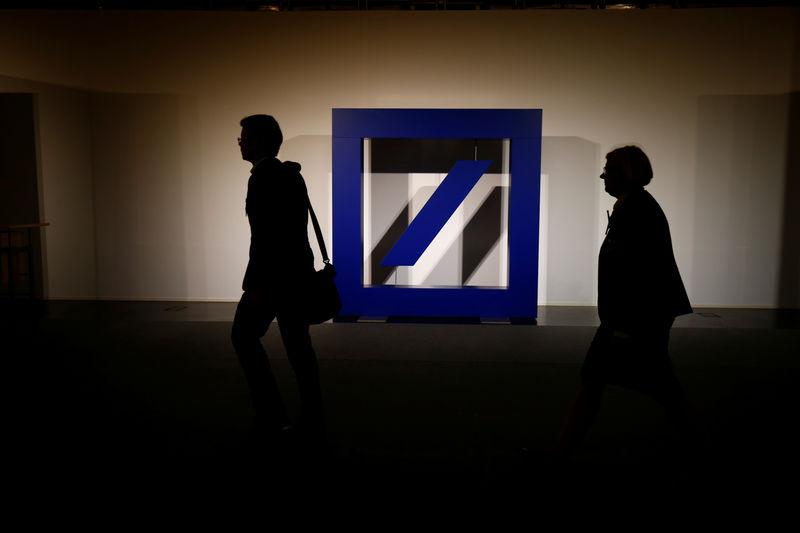 The logo of Deutsche Bank is seen at its headquarters ahead of the bank's annual general meeting in Frankfurt