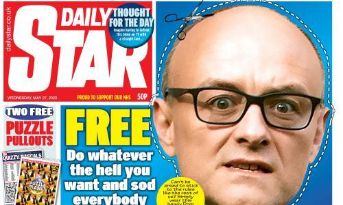 Daily Star includes free Dominic Cummings 'do whatever the hell you want' mask