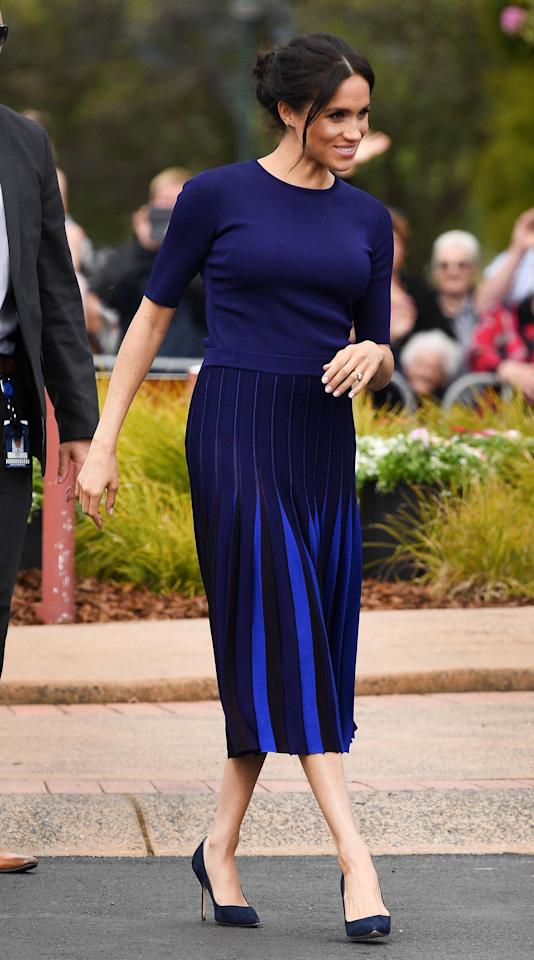 """<p>Meghan Markle and Prince Harry have officially completed their <a rel=""""nofollow"""" href=""""https://people.com/royals/meghan-markle-prince-harry-reception-first-day-sydney-tour/"""">first royal tour together</a>. Meghan Markle packed over <a rel=""""nofollow"""" href=""""https://www.marieclaire.com/fashion/g24406793/meghan-markle-royal-tour-wardrobe-cost/"""">30 different looks</a> for their <a rel=""""nofollow"""" href=""""https://www.marieclaire.com/celebrity/g23764326/meghan-markle-prince-harry-first-royal-tour-photos/"""">76 engagements</a> abroad, but not without some help. The Duchess of Sussex reportedly asked her <a rel=""""nofollow"""" href=""""https://www.townandcountrymag.com/society/tradition/a23780740/jessica-mulroney-joins-meghan-markle-prince-harry-royal-tour/"""">BFF and stylist Jessica Mulroney</a> to accompany her on the trip, no doubt to help curate and approve outfits for every day of the tour (Meghan and Prince Harry also traveled with a 10-person staff).</p><p>In addition, ever since Meghan announced her pregnancy, she not only had to dress for the day's activities, but also her growing bump. Comfort was key as she spent all day on her feet at some points, which is perhaps why she made a <a rel=""""nofollow"""" href=""""https://www.marieclaire.com/fashion/a23814517/meghan-markle-changed-flats-taronga-zoo/"""">quick change from heels to flats</a> while visiting the Taronga Zoo Sydney. Meghan's style has already proved to be quite <a rel=""""nofollow"""" href=""""https://www.marieclaire.com/fashion/a18921232/meghan-markle-kate-middleton-style-comparison/"""">different from Kate Middleton's</a> in that she prefers modern, sleek designs often in neutral tones such as navy or beige. Her royal tour outfits reflected her contemporary tastes and we tracked every look while shopping out our favorite piece each day. </p>"""