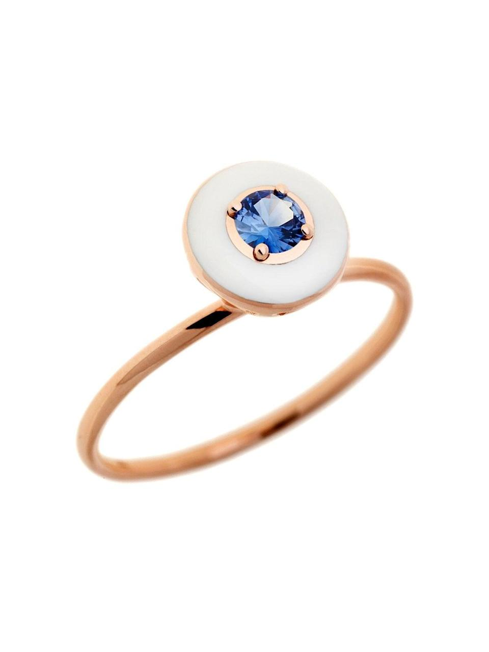 """<br><br><strong>Ylang23</strong> Blue Sapphire and Ivory Enamel Rose Gold Ring, $, available at <a href=""""https://go.skimresources.com/?id=30283X879131&url=https%3A%2F%2Fwww.ylang23.com%2Fproducts%2Fblue-sapphire-and-ivory-enamel-rose-gold-ring"""" rel=""""nofollow noopener"""" target=""""_blank"""" data-ylk=""""slk:Ylang23"""" class=""""link rapid-noclick-resp"""">Ylang23</a>"""