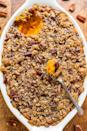 "<p>You've seen - and may love - <a href=""https://www.popsugar.com/food/Sweet-Potato-Casserole-38791907"" class=""link rapid-noclick-resp"" rel=""nofollow noopener"" target=""_blank"" data-ylk=""slk:sweet potato casseroles with marshmallow"">sweet potato casseroles with marshmallow</a> topping. But give this deliciously easy, irresistibly crumbly, buttery and brown sugary pecan topping a chance, and your Thanksgiving just might change for the better. After all, it's basically a primer for the pie course. </p> <p><strong>Get the recipe:</strong> <a href=""https://www.averiecooks.com/2016/11/sweet-potato-casserole-butter-pecan-crumble-topping.html"" class=""link rapid-noclick-resp"" rel=""nofollow noopener"" target=""_blank"" data-ylk=""slk:sweet potato casserole with butter pecan crumble topping"">sweet potato casserole with butter pecan crumble topping</a></p>"