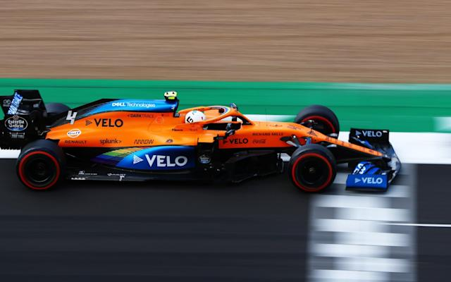 Lando Norris of Great Britain driving the (4) McLaren F1 Team MCL35 Renault during qualifying for the F1 Grand Prix of Great Britain at Silverstone on August 01, 2020 in Northampton, England. - GETTY IMAGES
