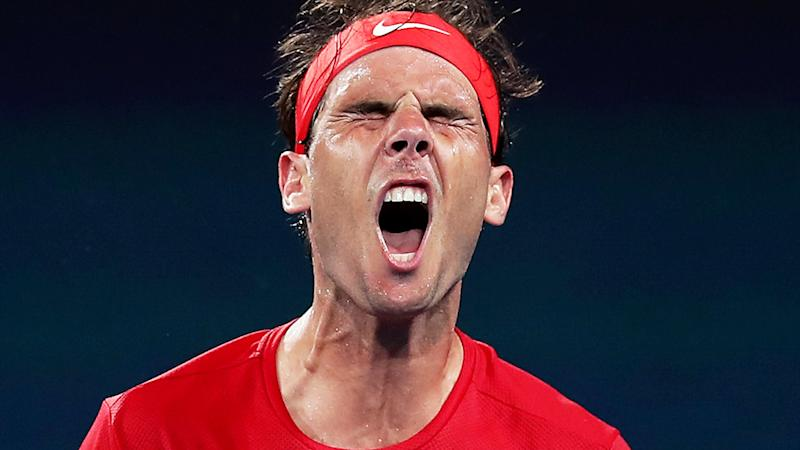 Rafael Nadal, pictured here after losing a point against David Goffin at the ATP Cup.
