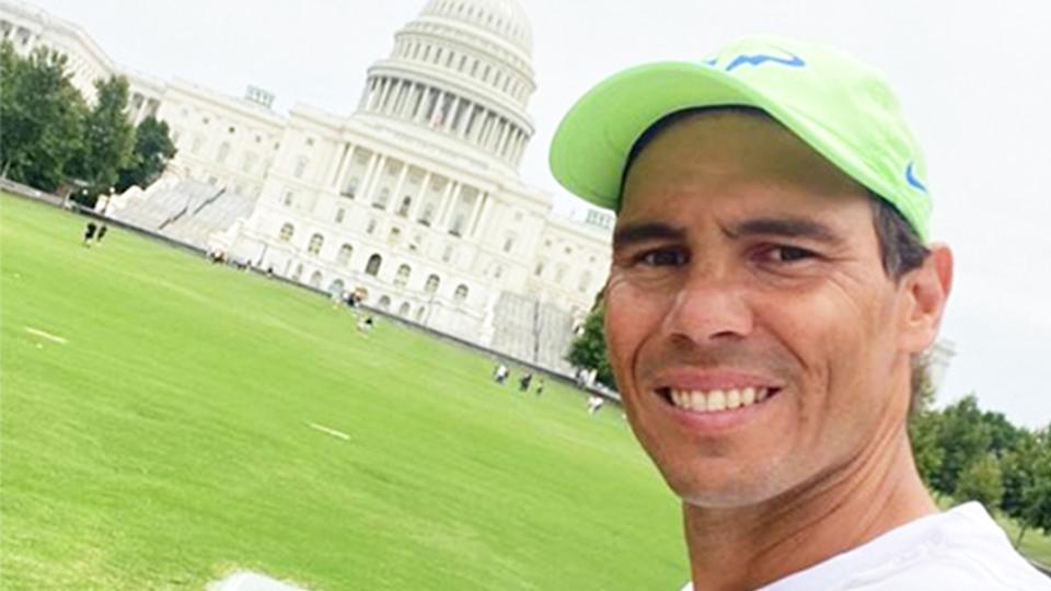 Rafael Nadal (pictured) smiling taking a photo in front of the US Capitol Building.