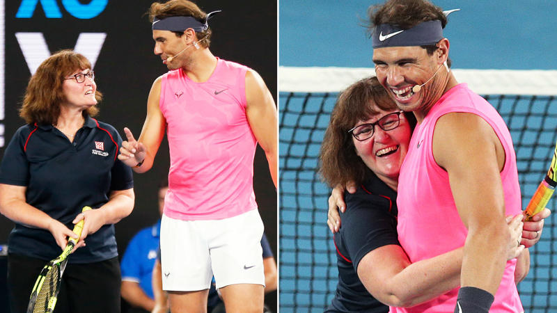 Deb, pictured here teaming up with Rafael Nadal at the Rally for Relief.