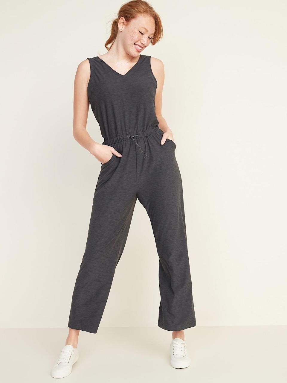 <p>I have the <span>Old Navy Breathe ON V-Neck Wide-Leg Jumpsuit </span> ($40, originally $45) in black and it matches with everything from sneakers to sandals.</p>
