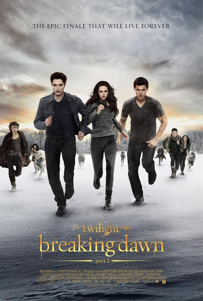 <b>The Worst: THE TWILIGHT SAGA: BREAKING DAWN - PART 2<br></b><br>After five installments of one of the most successful film franchises in recent history, this poster for the epic finale looks more like Edward, Bella and Jacob are leading a really intense line dance class on the lake.