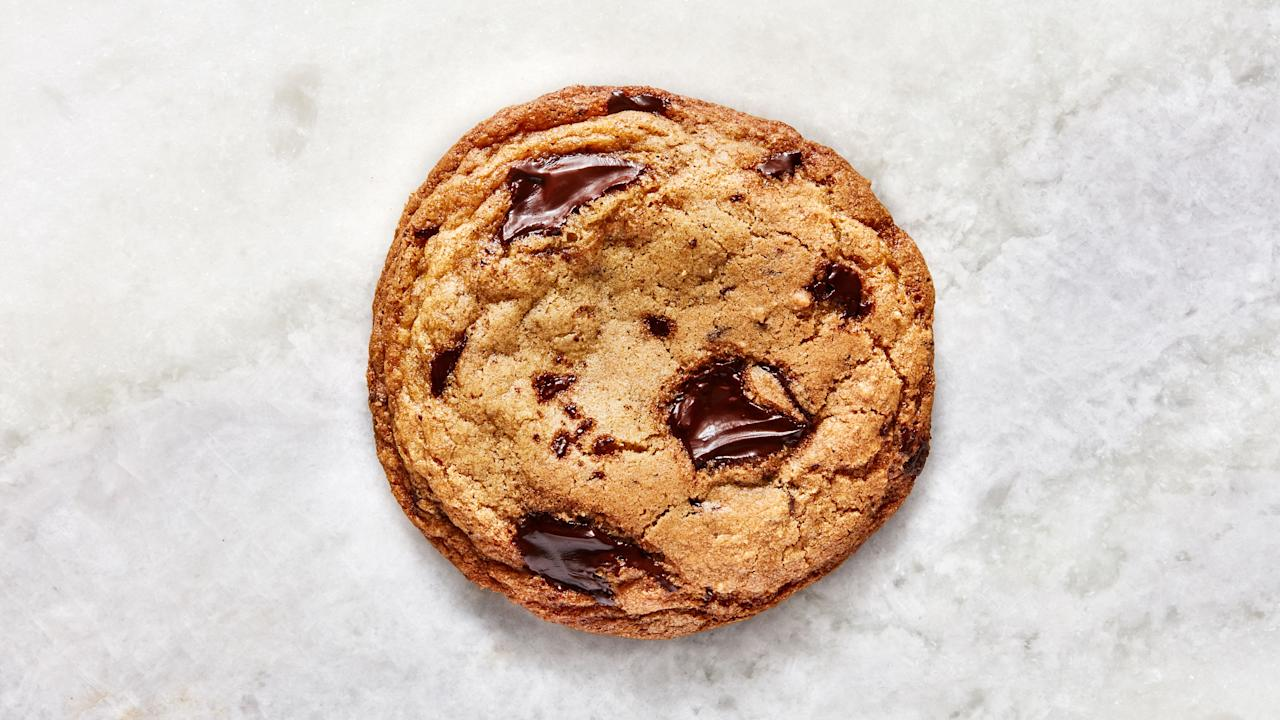 """What makes this chocolate chip cookie recipe BA's Best? The addition of browned butter really puts these cookies over the top. It makes them crispy-edged, chewy-centered, yet still rooted in classic cookie flavor. Oh, and no mixer required, so there's no excuse not to make them. This is part of <a href=""""https://www.bonappetit.com/best?mbid=synd_yahoo_rss"""">BA's Best</a>, a collection of our essential recipes. <a href=""""https://www.bonappetit.com/recipe/bas-best-chocolate-chip-cookies?mbid=synd_yahoo_rss"""">See recipe.</a>"""