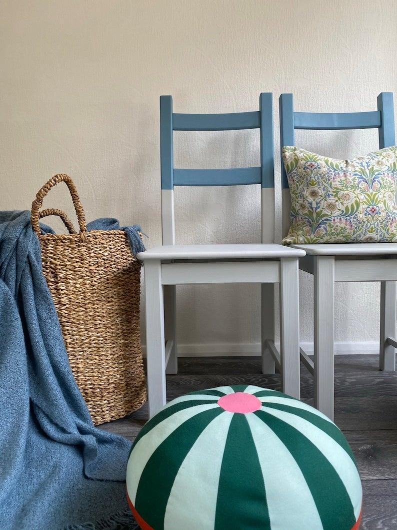 """As ever, Etsy is a treasure trove for all things vintage, sustainably made and upcycled. As flexible working becomes more normalised, now is as good a time as any to invest in a beautifully restored desk, no?<br><br><a href=""""https://www.etsy.com/uk/?ref=lgo"""" rel=""""nofollow noopener"""" target=""""_blank"""" data-ylk=""""slk:Etsy"""" class=""""link rapid-noclick-resp""""><strong>Etsy</strong></a><br><br><strong>Stone On The Hill</strong> Pair Of 2 Tone Chairs, $, available at <a href=""""https://www.etsy.com/uk/listing/1006810654/pair-of-2-tone-chairs?ga_order=most_relevant&ga_search_type=all&ga_view_type=gallery&ga_search_query=upcycled+chair&ref=sc_gallery-1-17&plkey=aae0b1a675a9650e4cc7cef66280397419f5d053%3A1006810654&frs=1&cns=1"""" rel=""""nofollow noopener"""" target=""""_blank"""" data-ylk=""""slk:Etsy"""" class=""""link rapid-noclick-resp"""">Etsy</a>"""