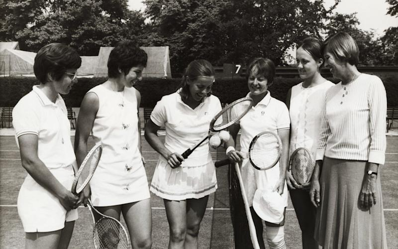 Members of America's Wightman Cup Team are pictured as they practiced at the All England Club at Wimbledon. - Bettman