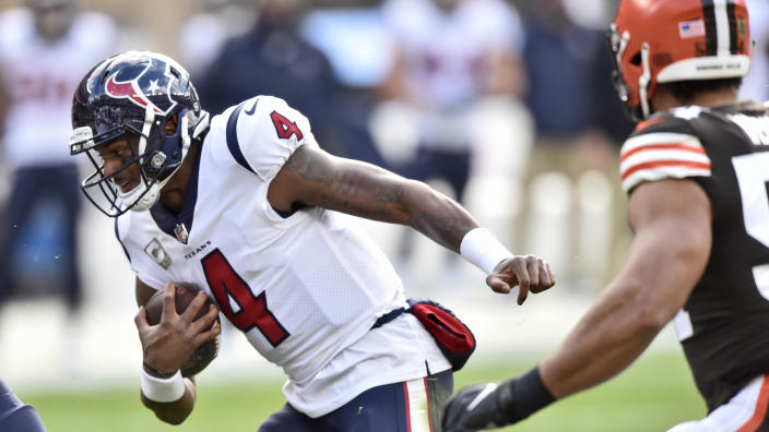 Houston Texans quarterback Deshaun Watson rushes during the first half of an NFL football game against the Cleveland Browns, Sunday, Nov. 15, 2020, in Cleveland. (AP Photo/David Richard)