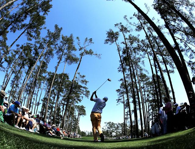 Bill Haas tees off on the 17th hole during the first round of the Masters golf tournament Thursday, April 10, 2014, in Augusta, Ga. (AP Photo/Matt Slocum)