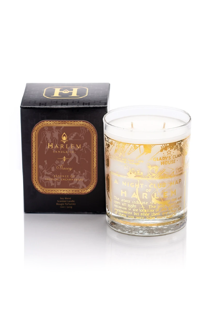 """<p><strong>Harlem Candle Company</strong></p><p>harlemcandlecompany.com</p><p><strong>$60.00</strong></p><p><a href=""""https://www.harlemcandlecompany.com/collections/entire-collection/products/22k-gold-harlem-nightclub-map-savoy-luxury-candle-large-12-oz"""" rel=""""nofollow noopener"""" target=""""_blank"""" data-ylk=""""slk:Shop Now"""" class=""""link rapid-noclick-resp"""">Shop Now</a></p><p>""""I love the thoughtful details behind Harlem Candle Company, especially this limited edition one. The vessel is reason enough to buy it: the 22k gold print has a vintage map showing Harlem's best night clubs (made in 1932 by E. Simms Campbell) and turns into a cocktail glass once you've finished the candle. Oh yes, and the candle? It's a sexy mix of white flowers like lily of the valley combined with mandarin and sandalwood.""""—<em>MA</em></p>"""
