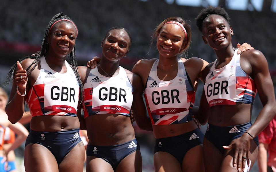 Team GB's victorious quartet of Asha Philip, Dina Asher-Smith, Imani Lansiquot and Daryll Neita - GETTY IMAGES