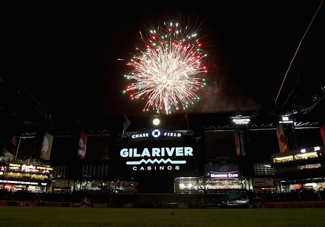 PHOENIX, AZ - APRIL 12: Fireworks explode over Chase Field following the MLB game between the Arizona Diamondbacks and the Los Angeles Dodgers on April 12, 2013 in Phoenix, Arizona. (Photo by Christian Petersen/Getty Images)